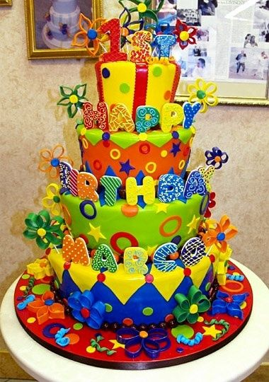 Cake Boss Cake whoa so brights and fun.
