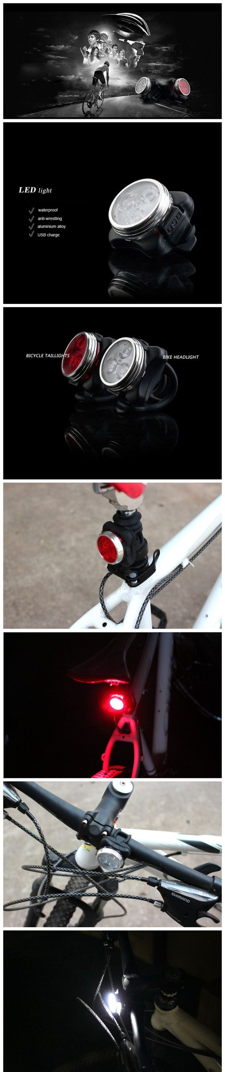 Mini White Light 4-Mode Waterproof USB Rechargeable LED Bicycle Light - Free Shipping - DealExtreme