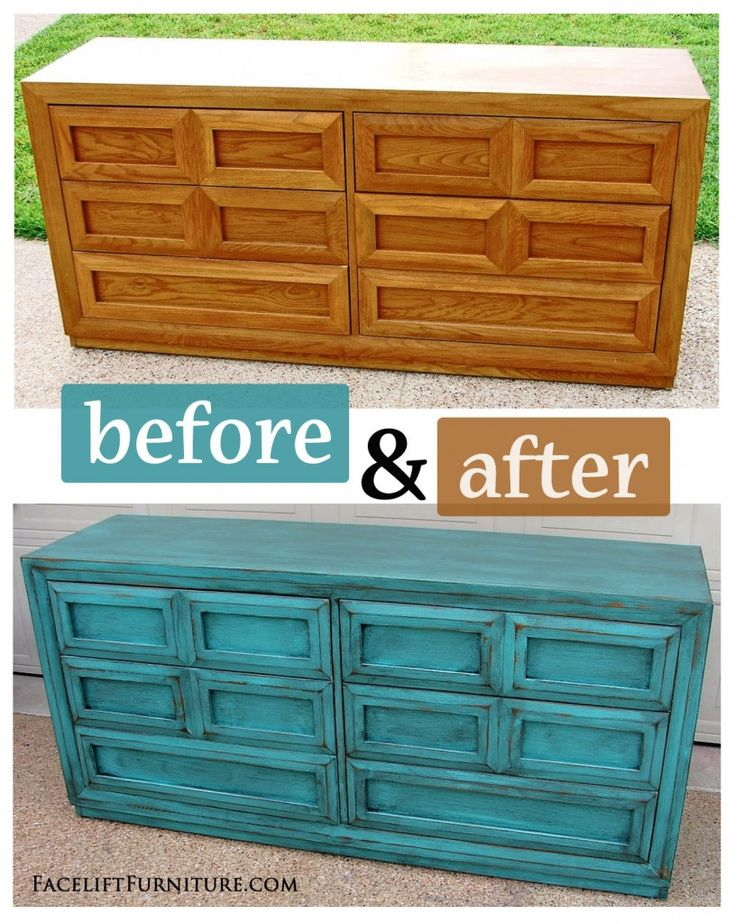 Turquoise Dresser with Heavy Black Glaze ~ Before & After. Find more painted, glazed & distressed inspiration on our Pinterest boards, or on the Facelift Furniture DIY blog.