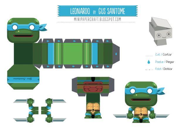 Mini papertoy 'Leonardo' (Tortues Ninja)   Papertoys, Papercraft ...