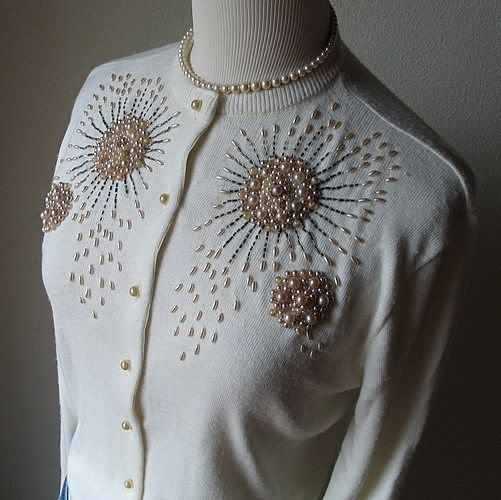 1950s Pearlized Champagne and Ivory Elaborately Beaded Sweater by STORYK