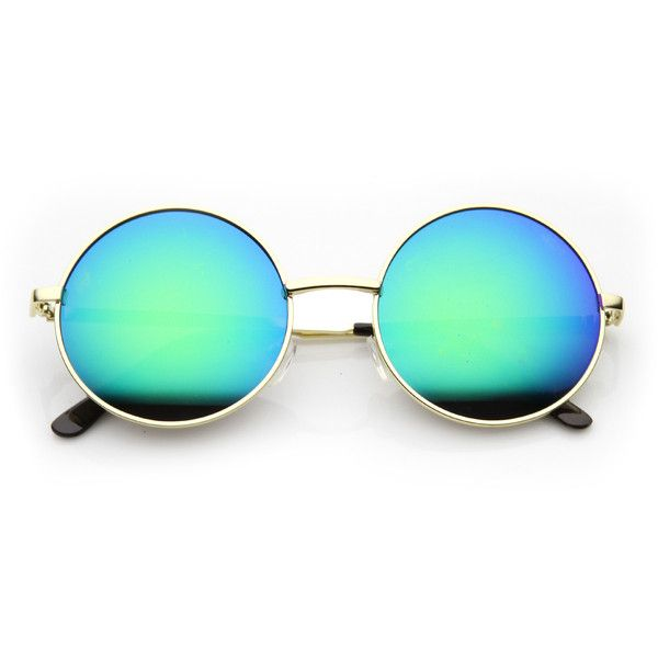Retro Hippie Round Flash Mirror Lens Metal Sunglasses ($15) ❤ liked on Polyvore featuring accessories, eyewear, sunglasses, retro round glasses, round sunglasses, mirrored sunglasses, hippie sunglasses and rounded sunglasses