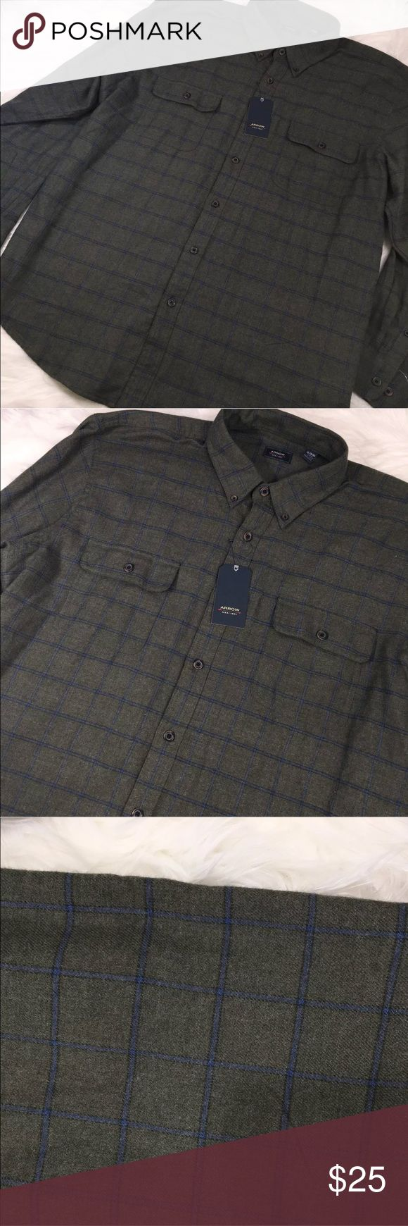"NWT Arrow Plaid Shirt Button Down Green Check out my other listings! Bundle and save! New with tags. No flaws. Comes from smoke- free/ pet free  environment. Size: XL Length: 31.5"" Underarm to underarm: 26"" Material: Cotton/Polyester Arrow Shirts Casual Button Down Shirts"