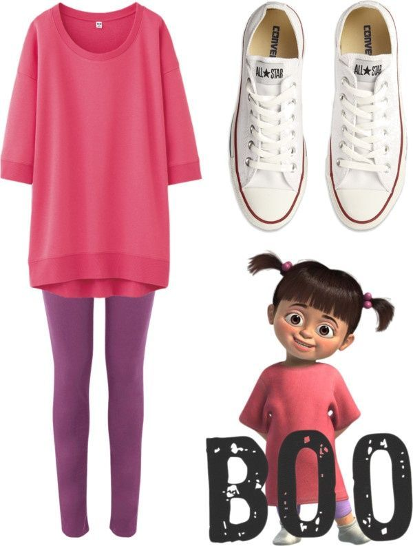 Disney fans might get a simple easy outfit for their Halloween night, even with your Converse shoes. Sweet and cute just like BOO.
