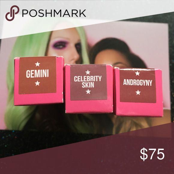 Jeffree Star Gemini & Androgyny & Celebrity Skin New in box. 100% Authentic. 3 Jeffree Star liquid Matte Lipsticks. Sephora Makeup Lipstick