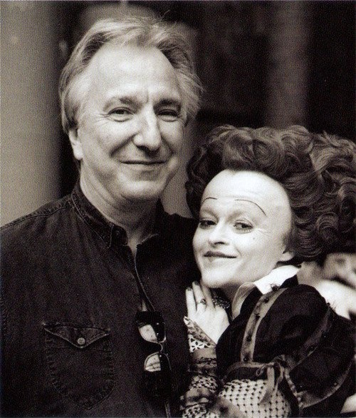 Alan Rickman and Helena as the Red Queen