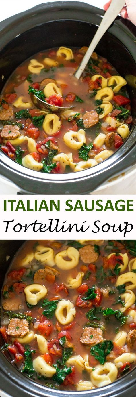 Slow Cooker Tortellini Sausage and Kale Soup. A super easy and delicious meal that takes only 10 minutes of prep time.   chefsavvy.com #recipe #Italian #sausage #tortellini #soup #crockpot