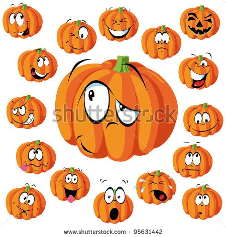 stock vector : pumpkin cartoon with many expressions