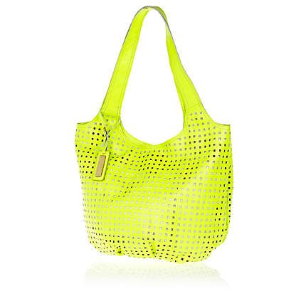 Yellow punch out leather slouch bag £70.00