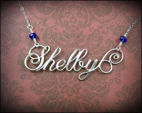 Nicely done wire name necklace from SilverTrove on Etsy. Note how the wire is flattened in some areas giving the name extra depth.