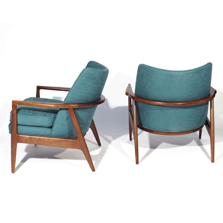 Milo Baughman; Walnut Lounge Chairs for Thayer Coggin, 1965.