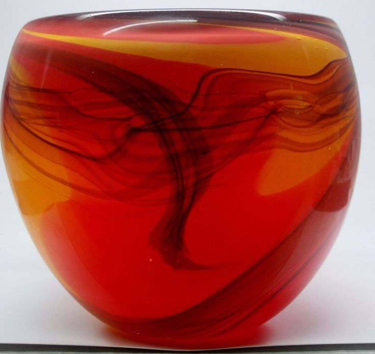 Signed Anthony Stern London England Brilliant Red & Yellow Seascape Glass Vase