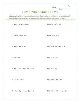 combining like terms in expressions worksheet combining. Black Bedroom Furniture Sets. Home Design Ideas