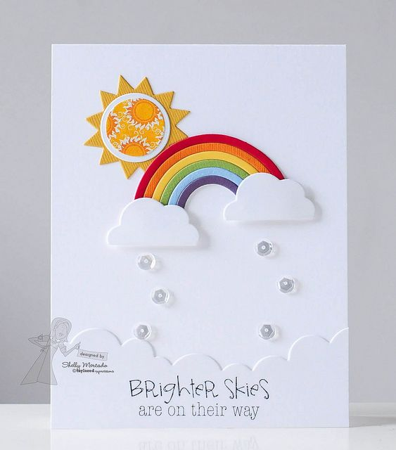 handmade card ... Brighter Skies ... die cut sun, rainbow and clouds ... like the clear dots falling from the clouds ... cheerful card with a message to cheer you up ... like it!