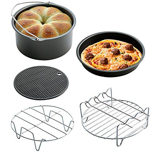 (Set of 5) Air Fryer Cooking Accessories for Gowise Phillips and Cozyna, 7inch Diameter for 3.5QT  [For All 3.7qt Air Fryers]: Universal fits all standard air fryers (3.7qt), such as: Cozyna, Philips, Gowise and Power Air Fryers. It is a little small for 5.8qt, please refer to the size on left photo galleries  [Fry, Grill, Roast, Bake]: Make various delicious food by yourself! Unlimited delicious cooking options are possible, more convenient to your cooking  [Expand Cooking Knowledge]:...