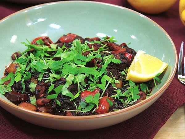 Paella med svart ris | Recept.nu