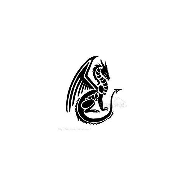 Maned Dragon Tribal Tattoo by WildSpiritWolf ❤ liked on Polyvore featuring accessories and body art