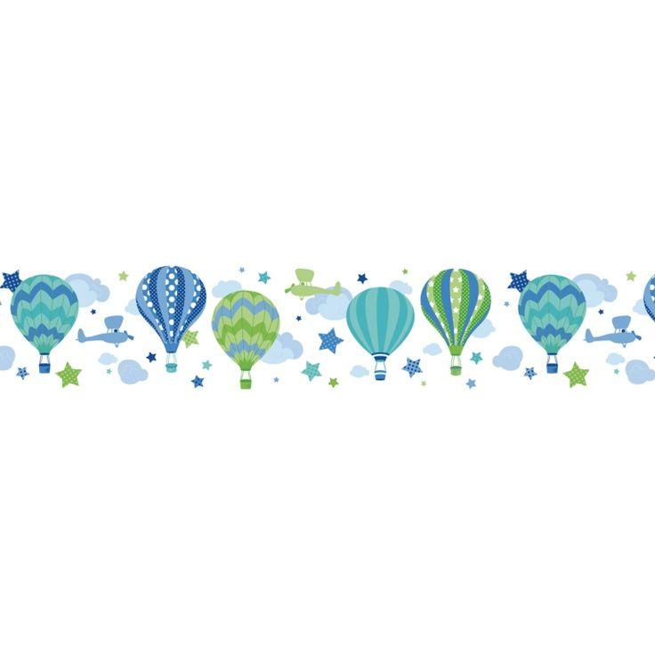 Bordüre Heißluftballons blau/grün, selbstklebend