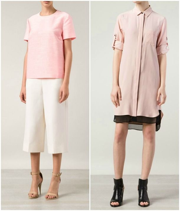 Pretty in Pink | Light pink can be sweet yet sophisticated, especially when used for a gorgeously structured piece like the Stella McCartney top available from Naples's Marissa Collections (above, left). The bubblegum shade pairs particularly well with white, resulting in a crisp, clean look. A slightly dustier tone stands up well to black, as the Rag & Bone dress available from Richmond's Roan shows, creating an ensemble that is feminine with an edge.