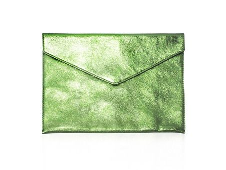 D'EN BOSSA Venezia Rosa Classic Envelope Clutch - Metallic Green  Tell me about it: A distinct Venetian-canal inspirtation, the Venezia Rosa print clutch is a timeless piece. Ideal as a dazzling evening bag, the metallic green leather is a guaranteed show-stopper that is efforlessly versatile and a sure conversation starter.  Features:      100% Leather     Interior: Cotton     Magnetic clasp     Designed & made in Australia  Dimensions:      W: 27.5cm     H: 20cm     D: 2cm