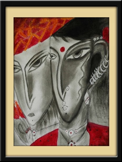 A modern art interpretation of a 'Married Couple'    This painting from Gloob is available on http://www.gloob.in/painting/married-couple.html#    Gloob paintings liven up your decor, and are ideal gifting solutions for all.
