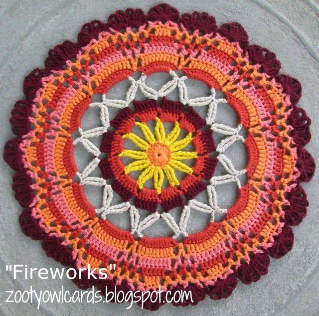 Zooty Owl's Crafty Blog: Fireworks Doily / Mandala: Print Friendly