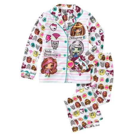 Monster High Girls' Button Down Top and Bottom Pajama 2-Piece Set, Size: 14/16, White