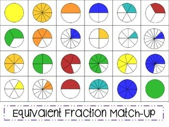 Students will match pictures of equivalent fractions and then write a comparison equation representing the relationship between the two fractions in their match.There is also a set of fractions without the pictures to possibly differentiate.