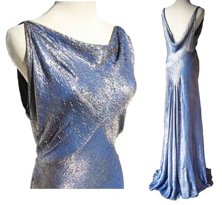 Vintage 1930s blue & silver silk brocade bias Evening Gown, deeply cowled front & back w/ rear gathered train effect. sold $ 230, via metroretrovintage on Etsy.