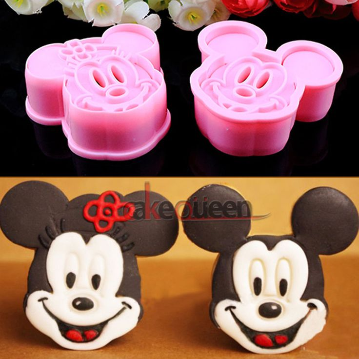 Cookie Biscuit Cutter Plunger Cake Cupcake Decorating Tool Mickey & Minnie Mold