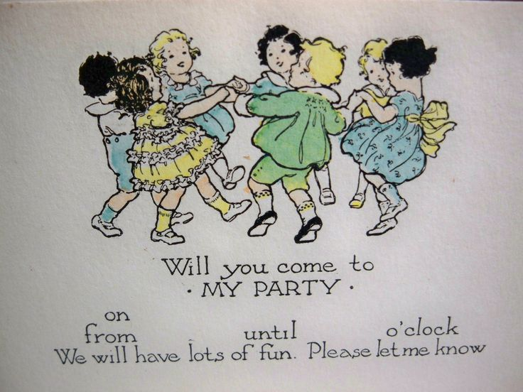 Wonderful vintage 1920's -30's children's  party invitation graphics of little kids ring around the posey. $7.00, via Etsy.
