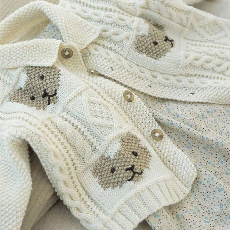 Knitting pattern for Cable and Teddybear Jacket for baby with teddy bear motif. 6-12 months, 12-18 months. One of the patterns in Baby Cashmerino 1 by Debbie Bliss . See rest of patterns at Deramores ships to US (affiliate link) tba