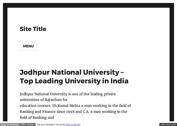 #KamalMehta #JodhpurNationalUniversity Kamal Mehta Jodhpur National University (JNU)-Leads in Rajasthan