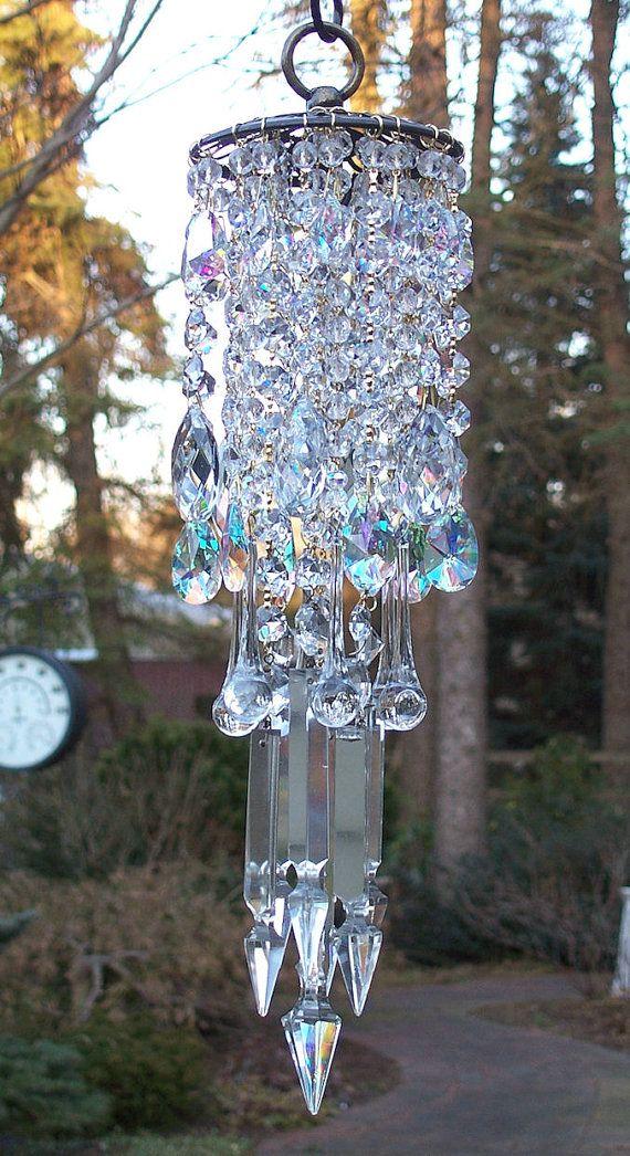 Crystal: Idea, Crystals Beautiful, Beautiful Windchimes Brass, Crystals Wind, Abs Crystals, Crystals Chandeliers, Wind Chimes, Crystals Mmmm, Antiques Brass