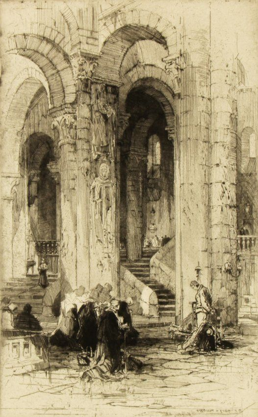 Hedley Fitton (British, 1859-1929) St. Hilary Poitiers, etching