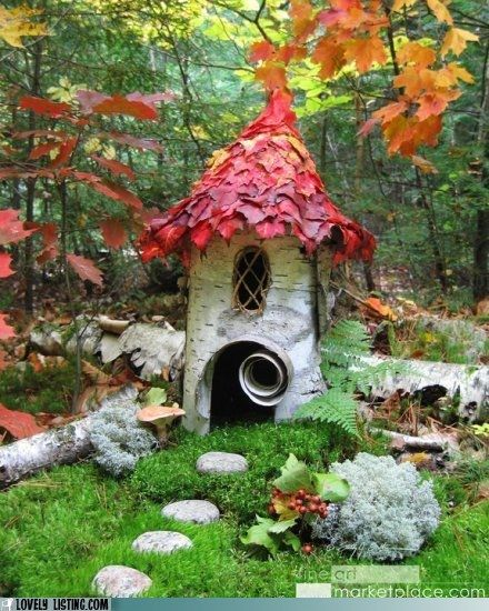 Cute for a little reading corner of the garden.gnome home                                                                                                                                                     Mais