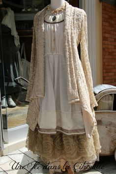 Wow! Easy to do, with the right layering of fabrics. I would wear it with tights and warm boots. Maybe some lacy boot socks too.