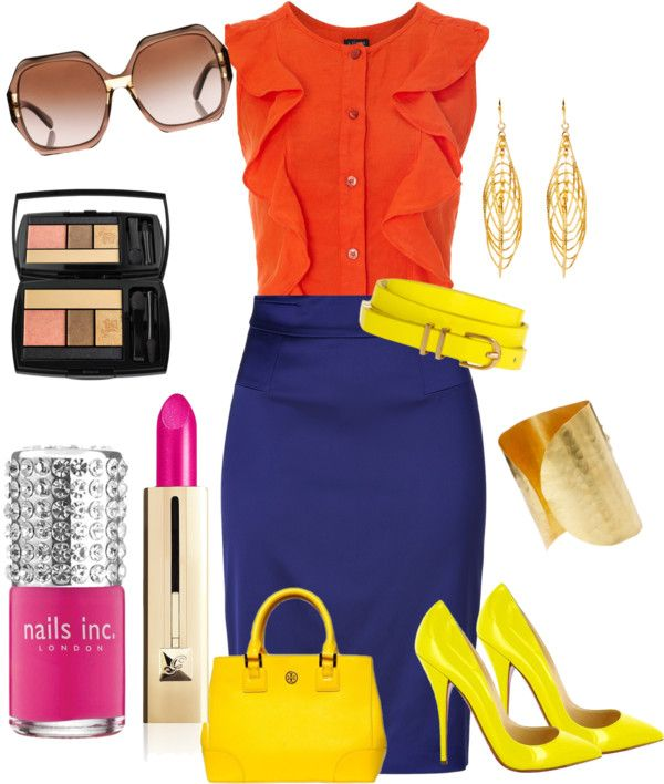 """Color blocking outfit"" by shoesgal1 on Polyvore"
