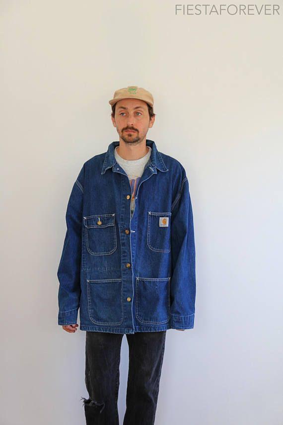 e1503d114 Vintage Carhartt Denim Oversized Chore Jacket 2XL | mens style ...