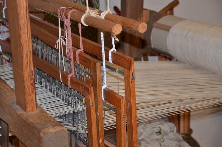 Weaving machine on display at Pioneer Village in Troy, Alabama.