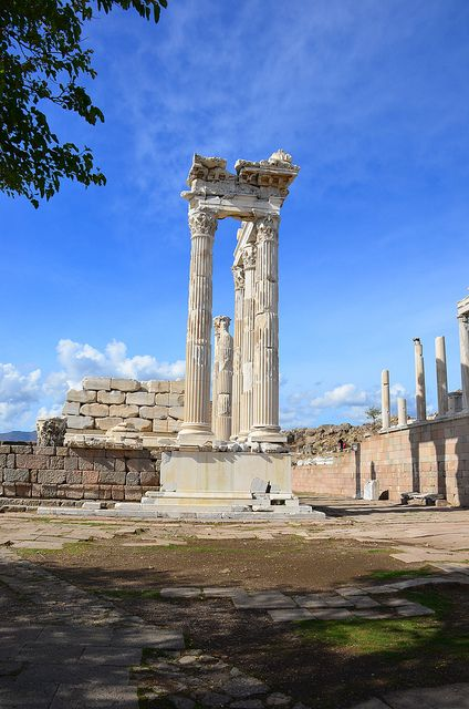 "Ruins at Pergamum- Also known as Pergamos. In the Bible Pergamos is referred to as the ""Seat of Satan"" (Rev. 2:13)"