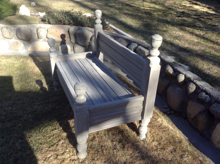 Old headboard repurposed into garden bench. Painted with wash of French linen.