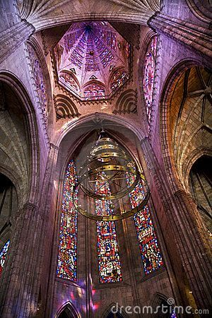 Temple of Atonement, Templo Expiatorio, Guadalajara, Mexico. Church Dome and Stained Glass Windows Inside Overview