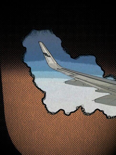 Taivaalla. Tehty lasten kuvankäsittelyohjelmalla. Finnair
