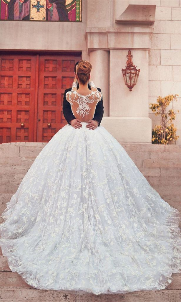 Luxury Wedding Dresses Ball Gown Scoop Sweep Train White Lace Big