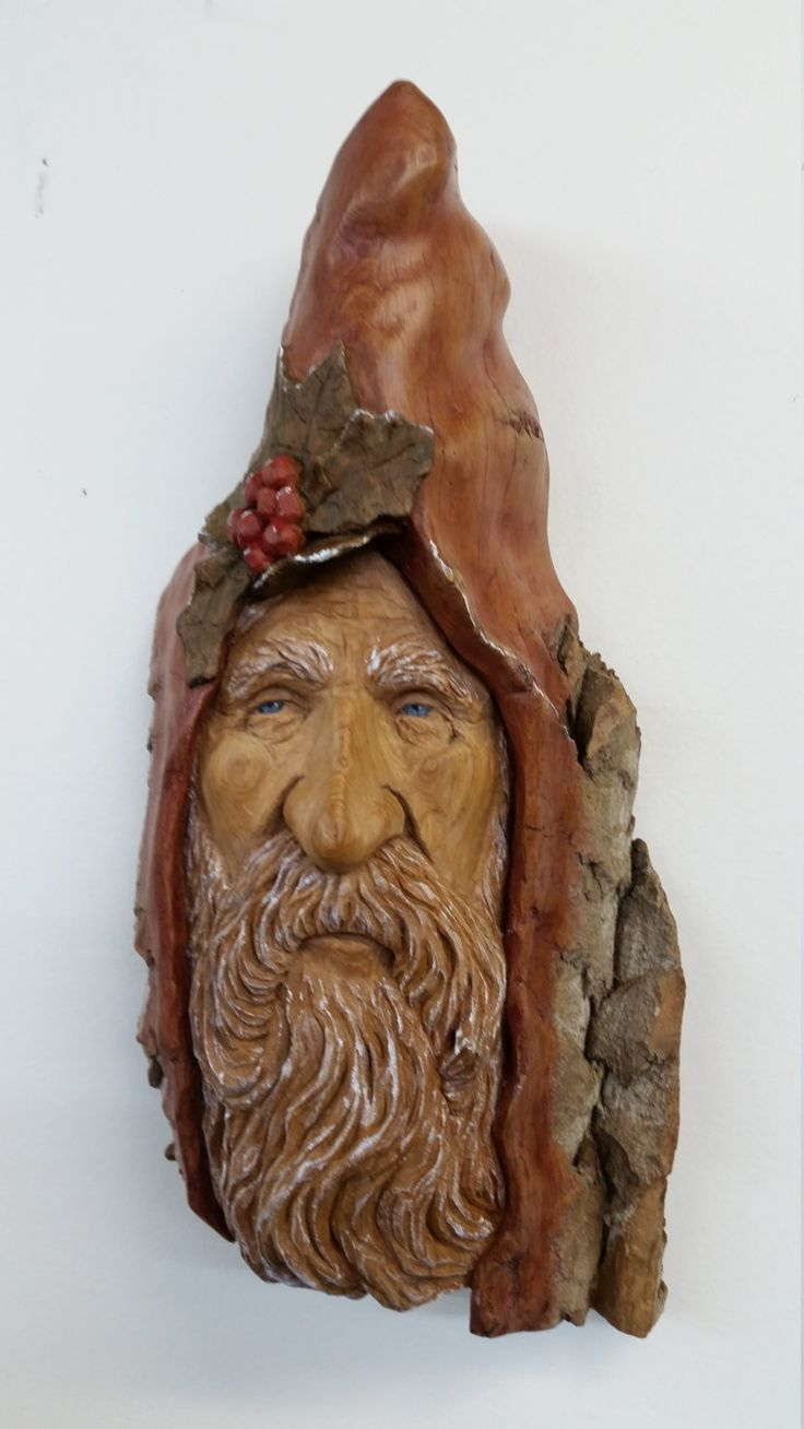 Winter Solstice Wood Spirit, Cottonwood Bark Wood Carving, Rustic Sculpture by ArtFromTheBark on Etsy