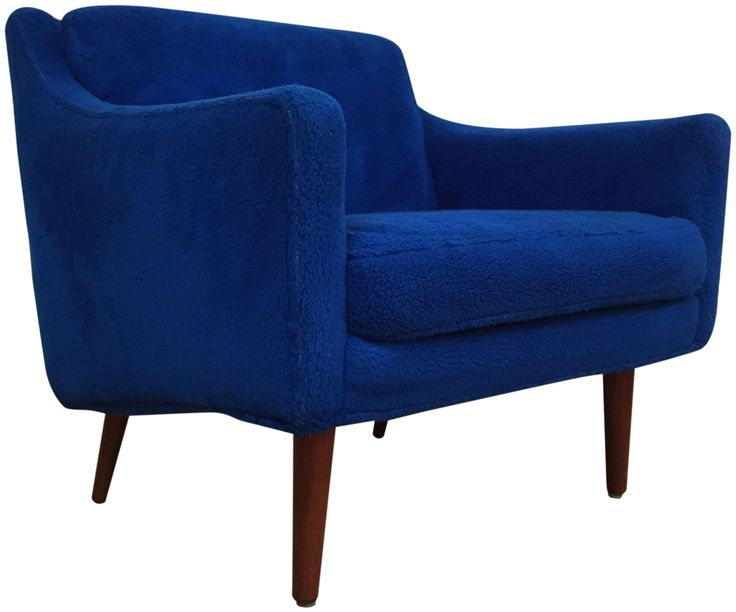 "A Mid-Century Modern small lounge chair with original blue fabric designed by Milo Baughman for James Inc. Walnut legs sit on two rolling casters. Seat height is 16.5""."