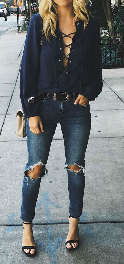 cute street style outfit idea shirt + rips