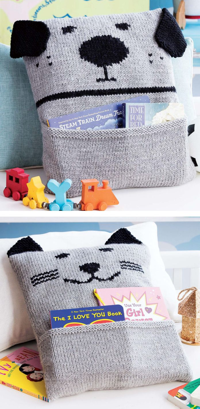 """Knitting Patterns for Bow-Wow and Meow-Meow Pillows - Playful pillow covers with dog or cat face and pockets for storybooks or other treasures. Approx 14 x 16""""/35.5 x 40.5cm."""