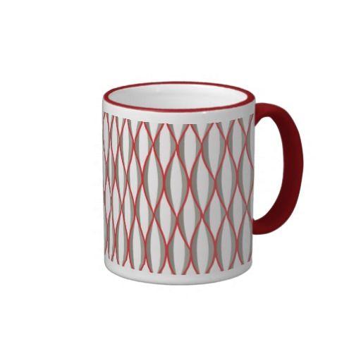Mid Century Ribbon Print Grey White Red Mug Mid